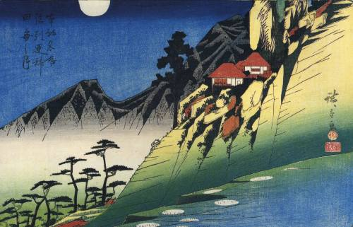Moon Over Mountain Landscape