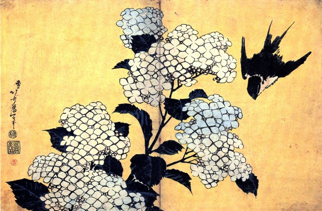 Hydrangea and Swallow