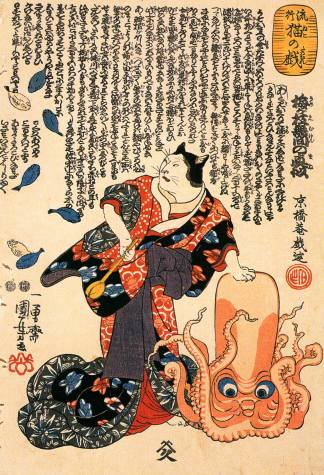 A Cat Dressed as a Woman Tapping the Head of an Octopus