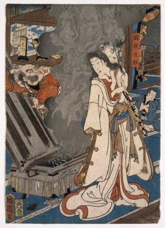 Yoshikado Visiting the Old Temple at Soma