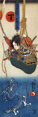 Koga Saburo Suspending from a Basket Watching a Dragon