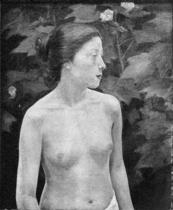 Woman and White Tree Lotus (Seiki Kuroda)
