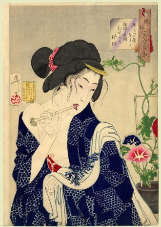 Looking as if she is waking up; the appearance of a maiden of the Koka era