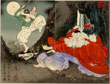 Sojobo Instructs Yoshitsune in the Sword