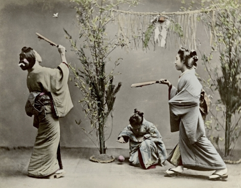 Young Women Playing Hanetsuki