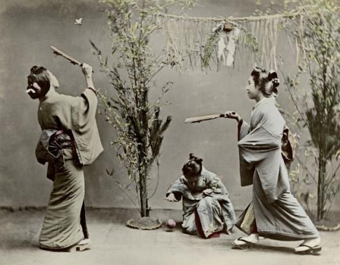 Young Women Playing Hanetsuki